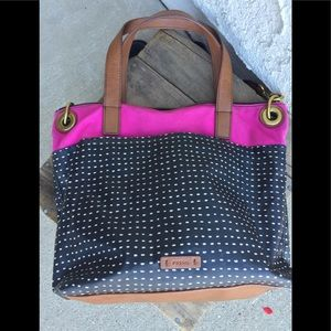Fossil Black Polka Dot with Pink Canvas & leather